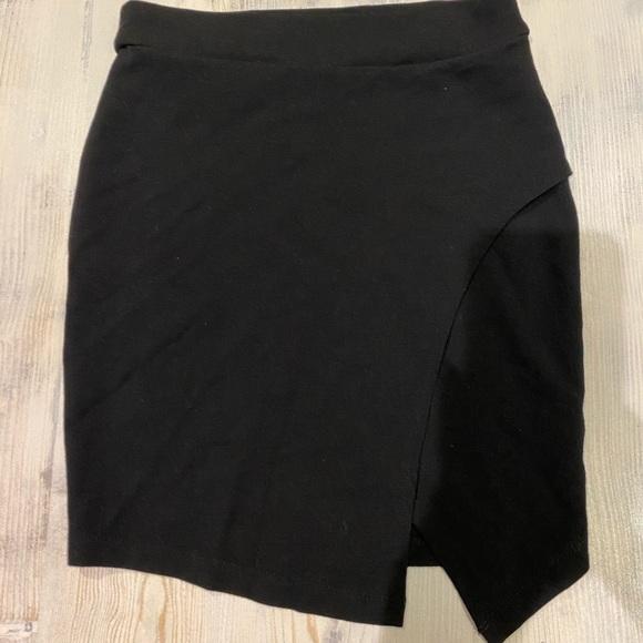 Forever 21 wrap effect Jersey mini skirt black S